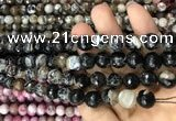 CAA3084 15 inches 10mm faceted round fire crackle agate beads wholesale