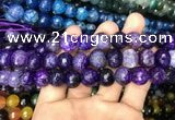 CAA3134 15 inches 12mm faceted round fire crackle agate beads wholesale