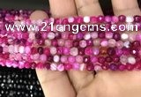 CAA3251 15 inches 4mm faceted round line agate beads wholesale