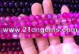 CAA3333 15 inches 8mm faceted round agate beads wholesale