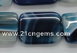 CAA343 15.5 inches 22*30mm rectangle blue line agate beads