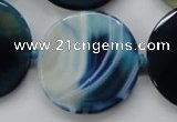 CAA349 15.5 inches 34mm faceted coin blue line agate beads