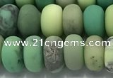 CAA3524 15.5 inches 6*10mm rondelle matte grass agate beads wholesale