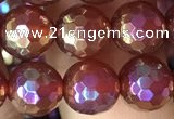 CAA3550 15.5 inches 8mm faceted round AB-color red agate beads