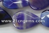 CAA361 15.5 inches 22*30mm faceted teardrop violet line agate beads