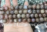 CAG3636 15.5 inches 4mm round flower agate beads wholesale