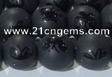 CAA3666 15.5 inches 8mm round matte & carved black agate beads
