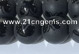 CAA3667 15.5 inches 10mm round matte & carved black agate beads