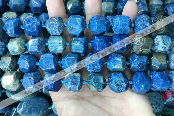 CAA3710 15*16mm - 16*17mm faceted nuggets chrysanthemum agate beads