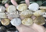 CAA3724 25*35mm - 30*40mm freeform chrysanthemum agate beads