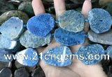 CAA3728 25*28mm - 35*45mm freeform chrysanthemum agate slab beads