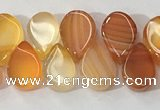 CAA3757 Top drilled 5*8mm flat teardrop line agate beads