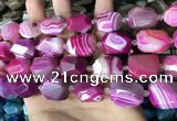 CAA3826 13*17mm - 18*22mm faceted nuggets line agate beads
