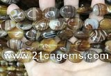 CAA4213 15.5 inches 13*18mm oval line agate beads wholesale