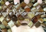 CAA4233 15.5 inches 14*14mm diamond line agate beads wholesale