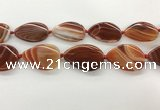 CAA4320 15.5 inches 30*40mm twisted oval line agate beads