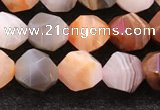 CAA4575 15.5 inches 6mm faceted nuggets mixed botswana agate beads