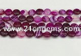 CAA4590 15.5 inches 12mm flat round banded agate beads wholesale