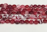 CAA4591 15.5 inches 12mm flat round banded agate beads wholesale