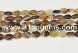 CAA4686 15.5 inches 10*14mm flat teardrop banded agate beads wholesale
