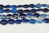 CAA4707 15.5 inches 13*18mm flat teardrop banded agate beads wholesale