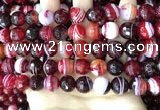 CAA5215 15.5 inches 10mm faceted round banded agate beads