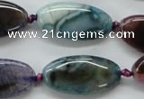 CAA551 15.5 inches 15*30mm oval dyed madagascar agate beads