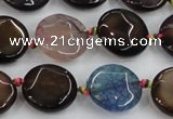 CAA562 15.5 inches 18mm faceted flat round dragon veins agate beads