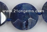 CAA567 15.5 inches 35mm faceted flat round dragon veins agate beads