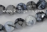 CAA717 15.5 inches 12mm faceted round fire crackle agate beads