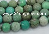 CAB08 15.5 inches 10mm faceted round green grass agate gemstone beads