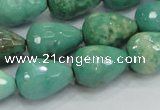 CAB15 15.5 inches 12*18mm faceted teardrop green grass agate beads