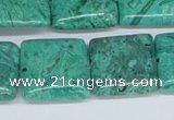CAB165 15.5 inches 20*20mm square green crazy lace agate beads