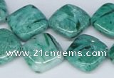 CAB167 15.5 inches 16*16mm diamond green crazy lace agate beads