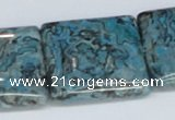 CAB217 15.5 inches 30*30mm square cyan crazy lace agate beads