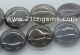 CAB350 15.5 inches 16mm flat round grey agate gemstone beads