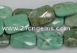 CAB37 15.5 inches 13*18mm faceted rectangle green grass agate beads