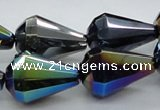 CAB558 15.5 inches 15*20mm faceted teardrop AB-color black agate beads
