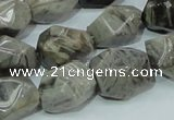 CAB568 15.5 inches 15*20mm nuggets silver needle agate gemstone beads