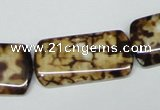 CAB640 15.5 inches 15*30mm rectangle leopard skin agate beads