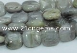 CAB77 15.5 inches 12*12mm square silver needle agate gemstone beads