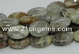 CAB89 15.5 inches 10*14mm oval silver needle agate gemstone beads