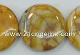 CAB946 15.5 inches 30mm flat round yellow crazy lace agate beads