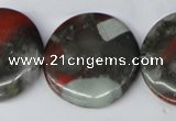 CAF05 15.5 inches 30mm flat round African bloodstone beads