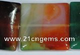 CAG1050 15.5 inches 40*40mm square rainbow agate beads