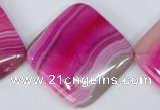 CAG1184 15.5 inches 35*35mm diamond line agate gemstone beads