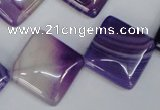 CAG1225 15.5 inches 20*20mm diamond line agate gemstone beads