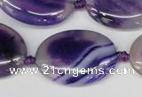 CAG1237 15.5 inches 22*30mm oval line agate gemstone beads