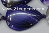 CAG1245 15.5 inches 30*40mm flat teardrop line agate gemstone beads