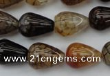 CAG1449 15.5 inches 13*18mm teardrop dragon veins agate beads